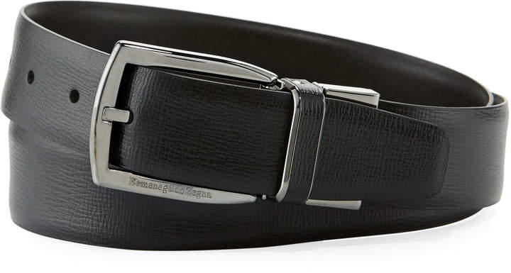 Ermenegildo Zegna Reversible Belt w/ Polished Buckle, Black