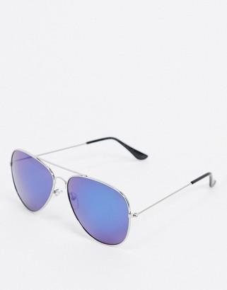 SVNX aviator sunglasses with blue lens