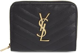 Saint Laurent Black Quilted Monogram Leather Purse