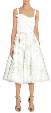 Marchesa Twist Detail Floral-Skirt Midi Dress