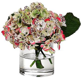 """10"""" Hydrangea in Cylinder Vase - Faux - NDI - arrangement, pink/green; vessel, clear"""