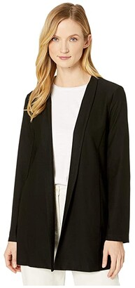 Eileen Fisher Lightweight Washable Stretch Crepe Long Jacket (Black) Women's Clothing