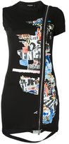 DSQUARED2 zipped newspaper collage dress