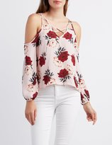 Charlotte Russe Floral Lattice Cold Shoulder Top