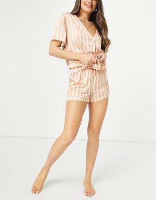 ASOS DESIGN stripe satin shirt and shorts pyjama set in peach