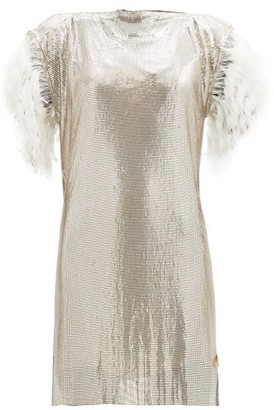 Christopher Kane Feather-trim Chainmail Mini Dress - Womens - Silver