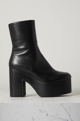 Dries Van Noten Leather Platform Ankle Boots - Black