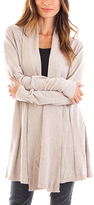 Beige Pleated Open Cardigan