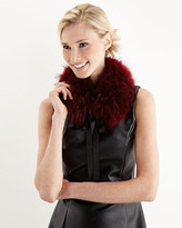 Adrienne Landau Tie-Front Raccoon Fur Collar, Red
