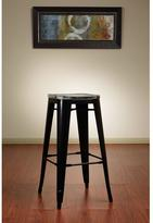 Work Smart Bristow 30 in. Antique Metal Barstool w/Vintage Wood Seat in Black Finish Frame and Ash Crazy Horse Finish Seat (2-Pack)
