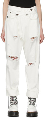 R 13 White Cross-Over Jeans