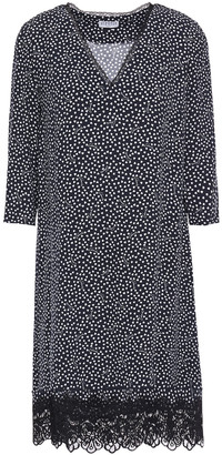 Claudie Pierlot Lace-trimmed Printed Crepe Mini Dress