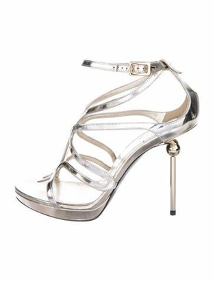 Roger Vivier Patent Leather Cutout Accent Sandals Gold