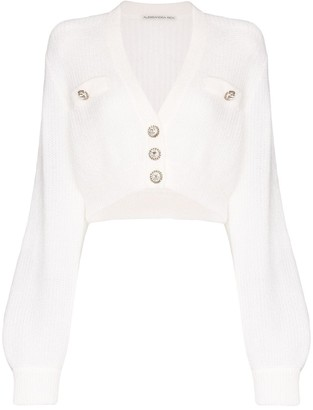 Alessandra Rich Cropped Button-Up Cardigan