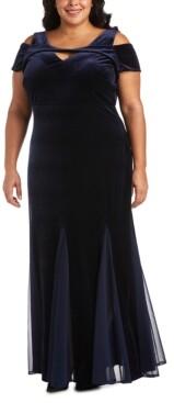 Night Way Nightway Plus Size Velvet Cold-Shoulder Gown