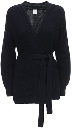 Max Mara Belted Cotton Rib Knit Cardigan