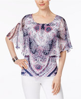 JM Collection Petite Embellished Printed Butterfly-Sleeve Top, Only at Macy's