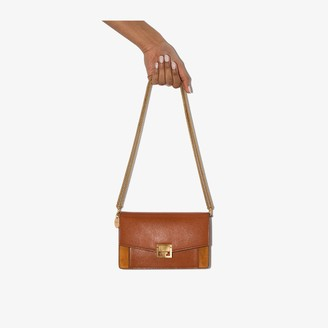 Givenchy chestnut brown GV3 mini leather and suede shoulder bag