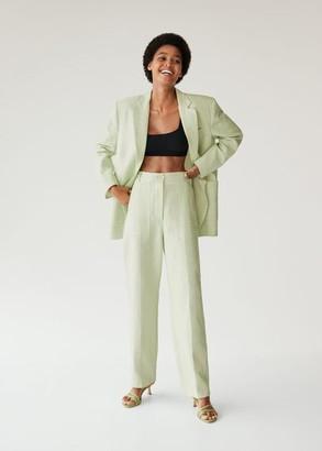 MANGO Linen suit trousers pastel green - 6 - Women