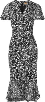 Michael Kors Wrap-effect Fluted Floral-print Crepe Dress