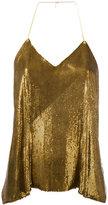 Balmain sequin embellished top - women - Silk/Brass - 36