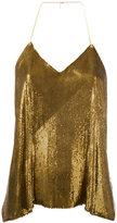 Balmain sequin embellished top - women - Silk/Brass - 38
