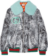 Gucci Shearling-trimmed Painted Gabardine Bomber Jacket - IT40