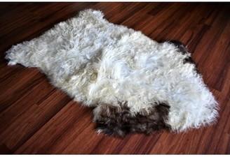 "Brinkerhoff Animal Print Handmade 2'1"" x 3' Sheepskin Cream/Brown Indoor / Outdoor Area Rug Millwood Pines"