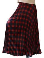 "YSJ Womens Plaid Long Maxi Skirt - 37.8"" Thick 360 Sunray Pleated Full Skirt Dress"