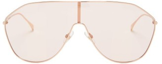Fendi Flap-top Metal Shield Sunglasses - Womens - Pink Gold