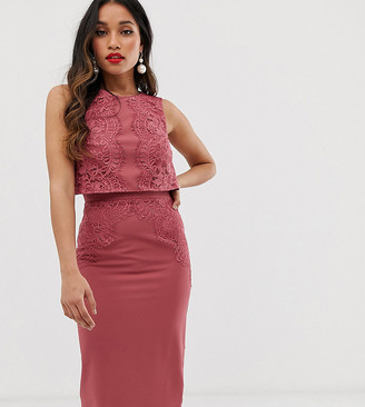 Little Mistress Petite lace applique pencil dress in dark coral