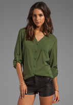 Alice + Olivia Colby Rolled Sleeve Draped Button Down Top