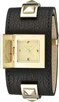 Vince Camuto Women's VC/5236GPBK Gold-Tone Pyramid Studded Black Leather Cuff Bangle Watch