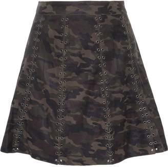 Haute Hippie Eyelet-embellished Printed Leather Mini Skirt