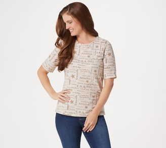 Denim & Co. Word Print Perfect Jersey Elbow-Sleeve Top
