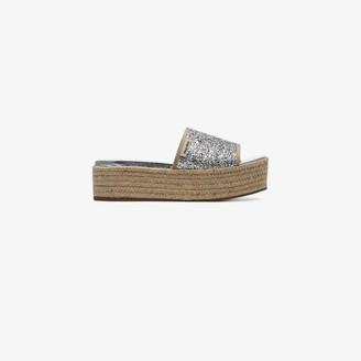 Miu Miu silver metallic 45 Glitter espadrille wedge sandals