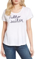 Sundry Women's Hello Sailor Split Sleeve Cotton Tee