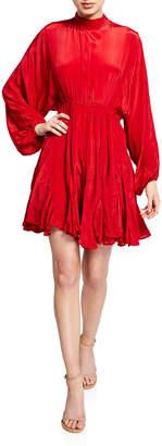 Rhode Resort Caroline High-Neck Satin Flounce Dress