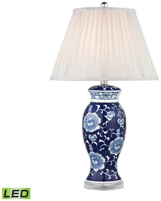 """Dimond Lighting 28"""" Blue & White Ceramic LED Table Lamp, Hand painted Blue and White"""