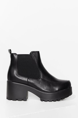 Nasty Gal Womens Kick Back and Relax Faux Leather Chelsea Boots - Black
