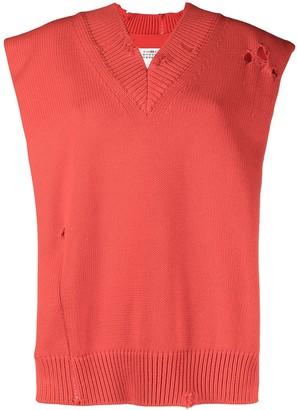 Maison Margiela Oversized Ripped Knitted Vest