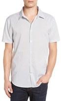John Varvatos Men's Trim Fit Print Short Sleeve Sport Shirt