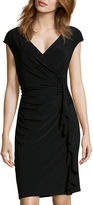 Evan Picone BLACK LABEL BY EVAN-PICONE Black Label by Evan-Picone Cap-Sleeve Ruffle Ruched Dress