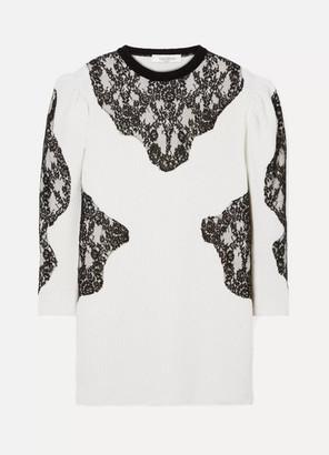 Valentino Camelia Lace-paneled Ribbed Wool Mini Dress - Cream