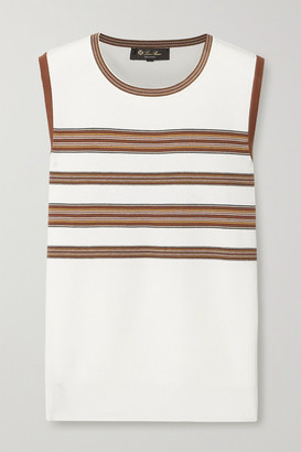 Loro Piana Striped Silk And Cotton-blend Tank - Off-white