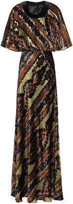 Etro Metallic Printed Devore-velvet Gown