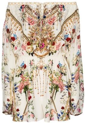 Camilla Embellished floral silk playsuit