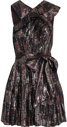 Ulla Johnson Marilla Ruffled Printed Silk-blend Lame Mini Dress