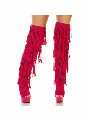 The Highest Heel Women's Amber 305 Thigh High Open Toe Microsuede Fringe Boot