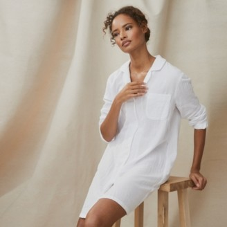 The White Company Double Cotton Nightshirt, White, Extra Small